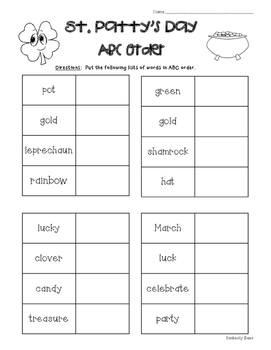 St. Patty's Day ABC Order Worksheet