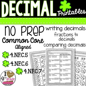St. Patty's Day Decimal Printables