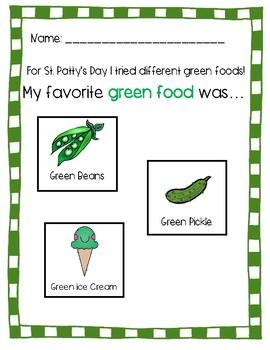 St. Patty's Day - Green Food Taste Test Activity