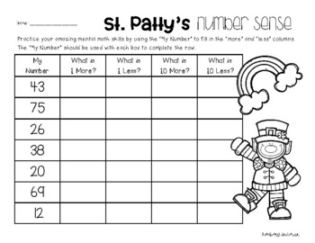 St. Patty's Day Number Sense - Mental Math: 1 More, 1 Less, 10 More, 10 Less