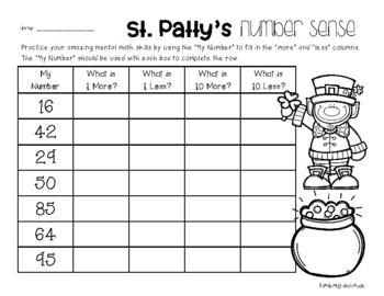St. Patty's Day Number Sense - Mental Math: 1 More, 1 Less