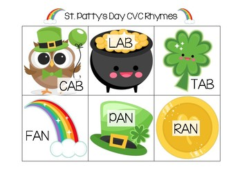 St. Patty's Day Rhyming Cards (CVC-Short Vowel)