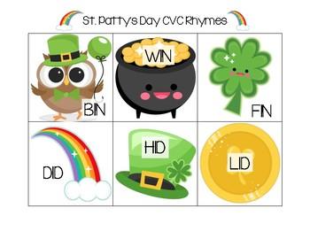 St. Patty's Day Rhyming Cards (CVC-Short Vowel)