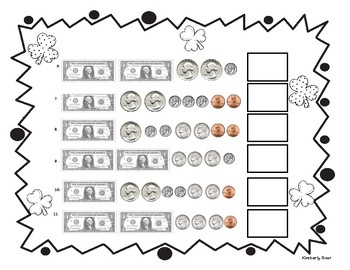 St. Patty's Day Shamrock Counting Money Practice Worksheet w/ Dollars & Coins
