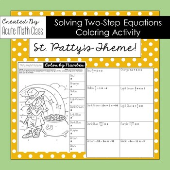 St. Patty's Day - Solving Two-Step Equations Coloring Activity