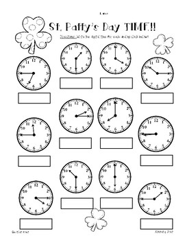 St. Patty's Day / St. Patrick's Day Shamrock Telling Time Worksheet Pack