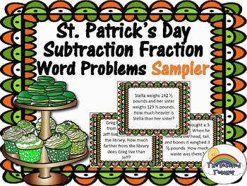 St. Patty's Day Subtracting Mixed Fractions Task Cards Activity Center FREEBIE
