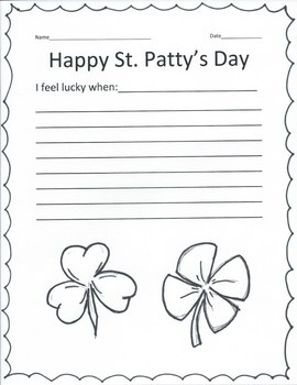 St. Patty's Day Writing Promt