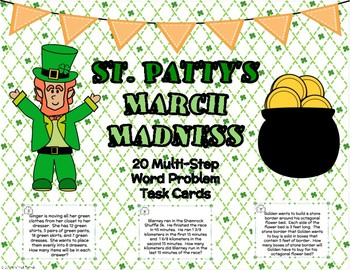 St. Patty's March Madness Multi-Step Word Problem Task Cards