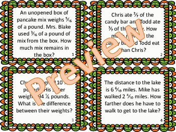 St. Patty's Subtracting Mixed Fractions BUNDLE Task Cards Activity