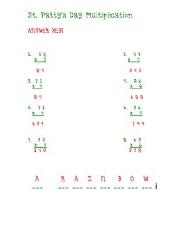 St. Patty's Day 1 digit by 1 digit Multiplication Worksheet