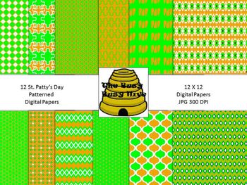 St. Patty's Day Digital Papers {12 backgrounds for persona