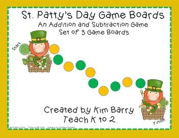 Game Boards - Addition and Subtraction Practice - St. Patty's Day Edition