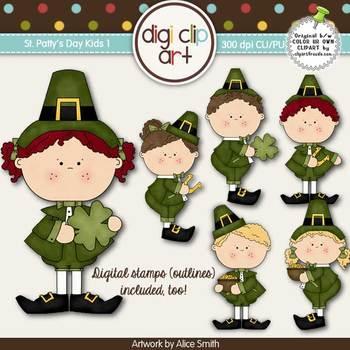 St. Patty's Day Kids 1-  Digi Clip Art/Digital Stamps - CU Clip Art