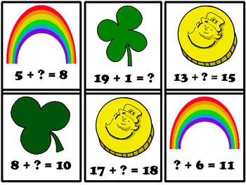St. Patty's Day Math Fact Game #0-20 First Grade