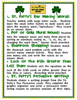 St. Patty's Day Math and Literacy Centers with Tic-Tac-Toe Rubric