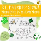 St. Patrick's Day Worksheets/HW Packet for Speech Therapy