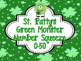 """St Patty's Math Station """"Monster Number Squeeze!"""" 0-50"""
