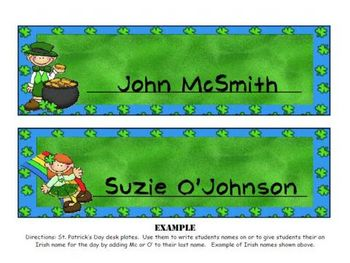 St. Patty's day Desk Tags