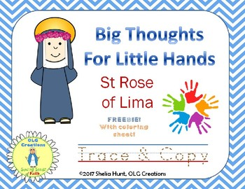 "St. Rose of Lima ""Trace & Copy"" Freebie, with coloring sheet"