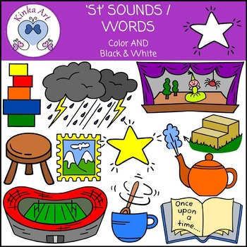 St Sounds / Words: Beginning Sounds Clip Art