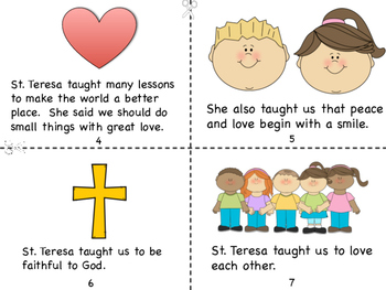 Mother Teresa/St. Teresa of Calcutta Mini Book and Coloring Pages