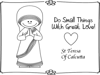 Mother Teresa St Of Calcutta Mini Book And Coloring Pages