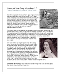 St. Therese Saint of the Day Worksheet