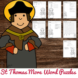 St Thomas More Word Puzzles - No Prep Catholic Activities