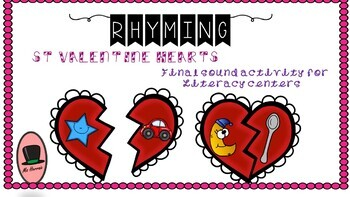 Valentine's BUNDLE with Literacy centers about alphabet, sounds&rhymes-Hearts