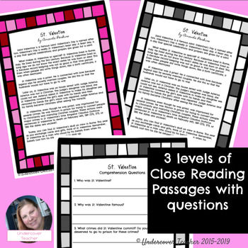 St. Valentine Close Reading Passages with Questions (Differentiated) {No Prep}