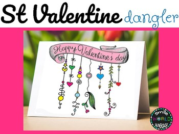 St Valentine Dangler Zentangle Doodle Coloring page card San Valentín Español