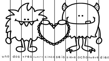 St Valentine NUMBER ORDER activity-Ordena numéros en español de San Valentín