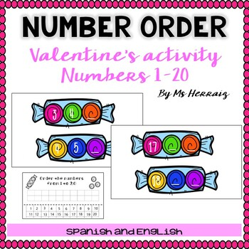 Valentine's day NUMBER ORDER activity for center and worksheets-Candy theme