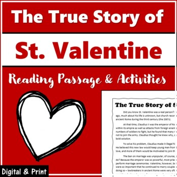St. Valentine Nonfiction Passage and Character Activity