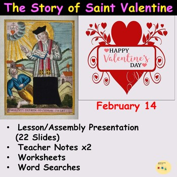 St Valentine's Day Lesson/Assembly Presentation, Worksheets, Word Searches