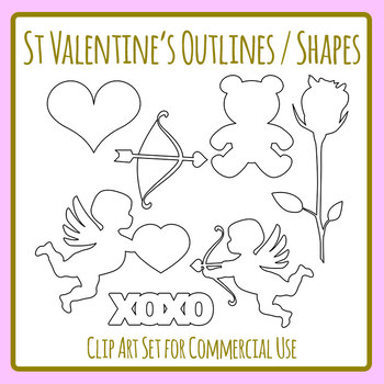 St Valentine's Day Outlines / Shapes Templates Clip Art Set for Commercial Use