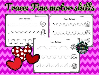 St Valentine's Day Tracing Fine Motor Skill Activities Trace