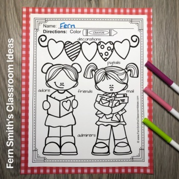 St. Valentine's Day Coloring Pages with Differentiated Seasonal Vocabulary