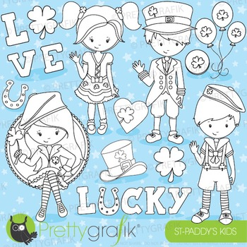 St-patrick's kids stamps commercial use, vector graphics,