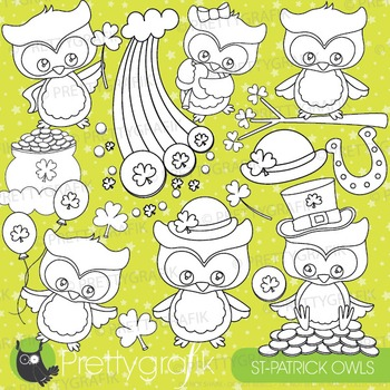St-patrick's owl stamps commercial use, vector graphics, images - DS814