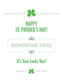 St.Patricks Day Homework Pass for March