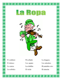 Spanish Clothing- St.Patrick's Day Theme - La Ropa- Fun Activities & Vocabulary