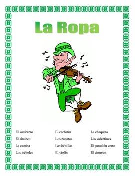 Spanish Clothing- St.Patrick's Day Theme - La Ropa- Fun Activities & Vocabulary