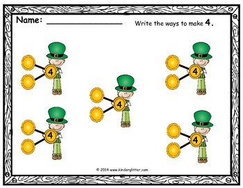 St.Patrick's Day Math-Decomposing Numbers 1-10!