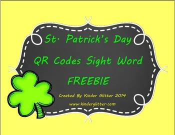 St.Patrick's Day QR Codes Sight Word FREEBIE!