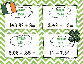 St.Patricks Day Scavenger Hunt (Whole Numbers, Decimals, and Fractions)