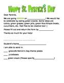 St.Patrick's Day Snack Letter