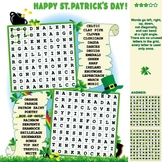 St.Patrick's Day Word Search Puzzle, Illustrated, Commercial Use Allowed
