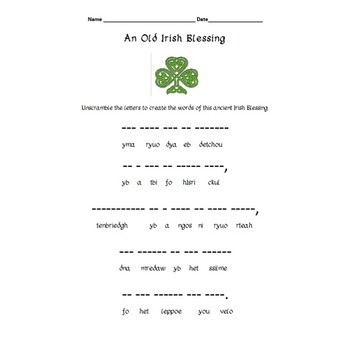St. Patrick's Day Word Search and Word Scramble